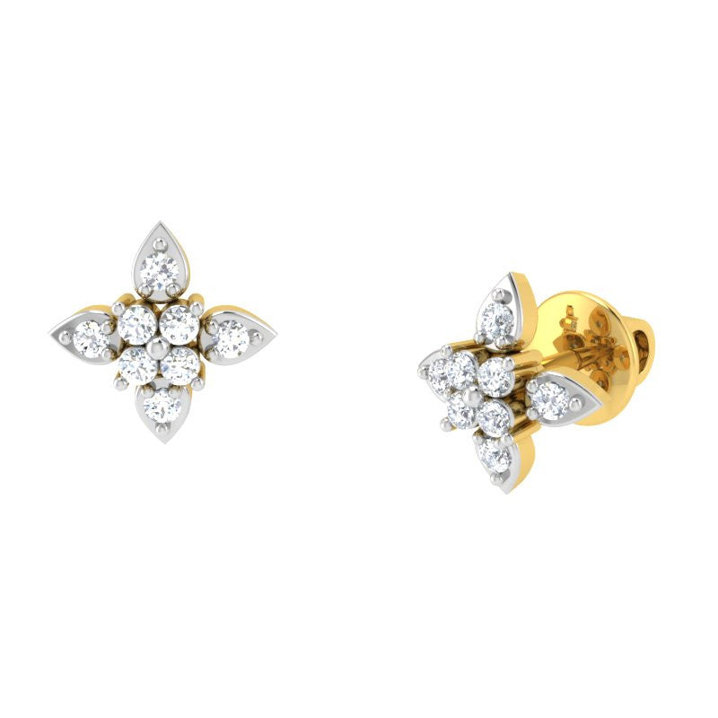 diamond studded gold jewellery - Lita Studs and Tops Earrings - Pristine Fire - 1
