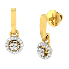 diamond studded gold jewellery - Liza Drops and Danglers Earrings - Pristine Fire - 1
