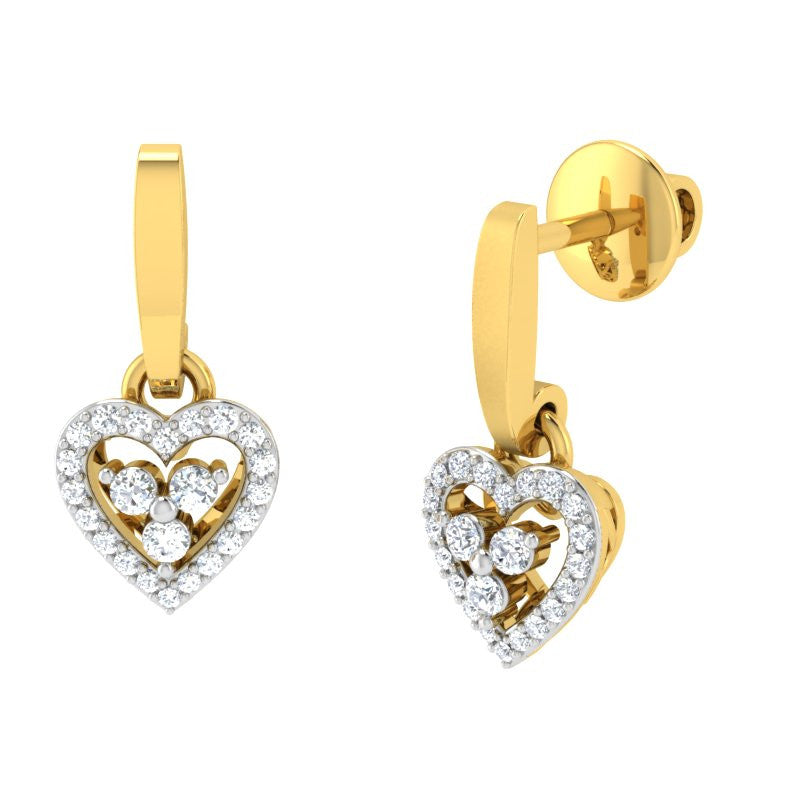 diamond studded gold jewellery - Lois Drops and Danglers Earrings - Pristine Fire - 1