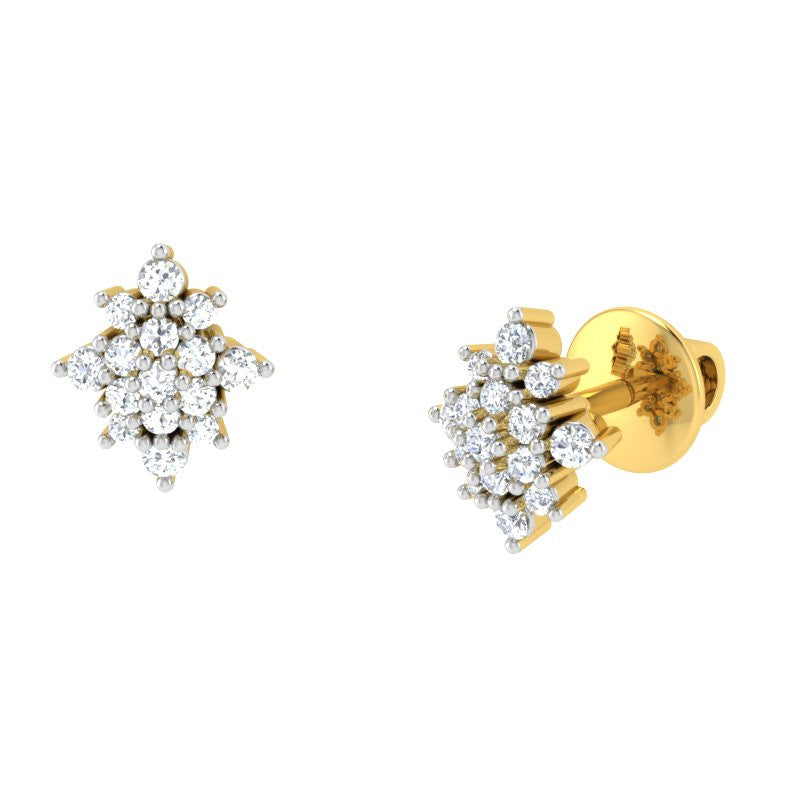 diamond studded gold jewellery - Lola Studs and Tops Earrings - Pristine Fire - 1