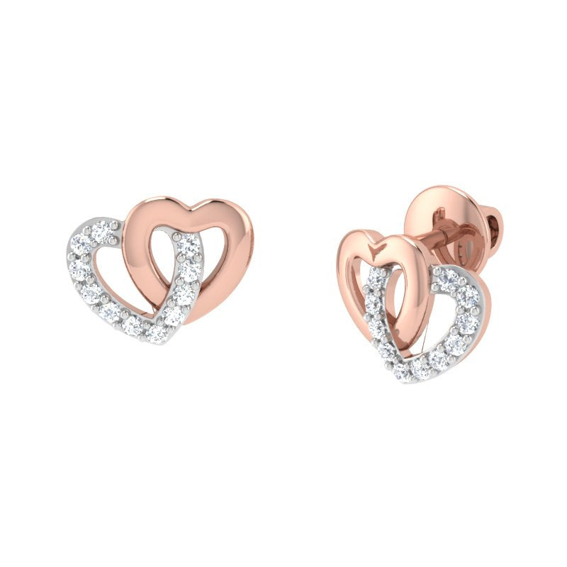 diamond studded gold jewellery - Velvet Studs and Tops Earrings - Pristine Fire - 1