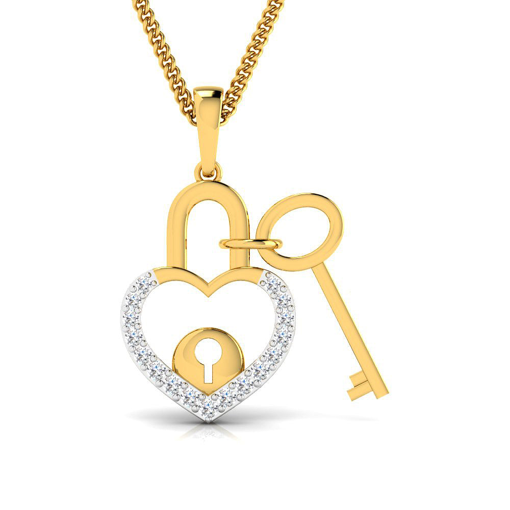 Diamond studded lock n key mommy pendant in gold pristine fire lock n key mommy pendant aloadofball Image collections