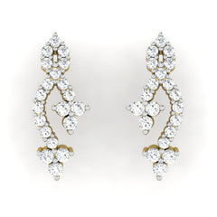 diamond studded gold jewellery - Maryam Earring Tops - Pristine Fire - 2