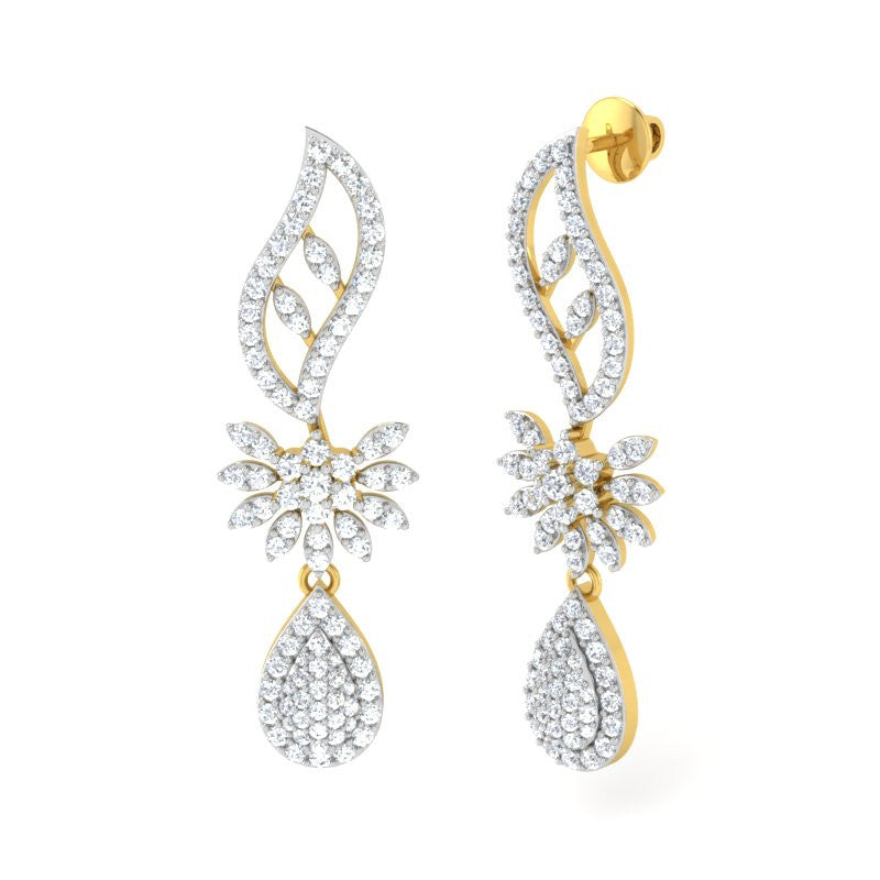 diamond studded gold jewellery - Anita Classic Earring - Pristine Fire - 1