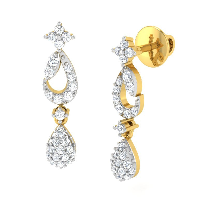 diamond studded gold jewellery - Áine Dangler Earring - Pristine Fire - 1