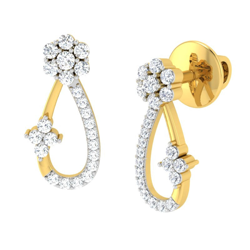 diamond studded gold jewellery - Gabrijela Earring Tops - Pristine Fire - 1