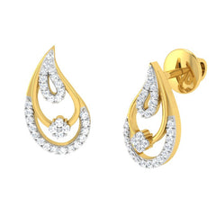 diamond studded gold jewellery - Chandra Earring Tops - Pristine Fire - 1