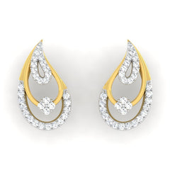 diamond studded gold jewellery - Chandra Earring Tops - Pristine Fire - 2