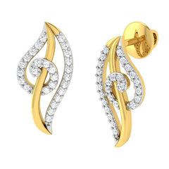 diamond studded gold jewellery - Lunete Earring Tops - Pristine Fire - 1