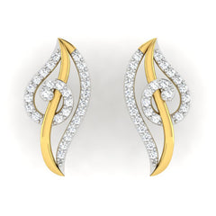 diamond studded gold jewellery - Lunete Earring Tops - Pristine Fire - 2