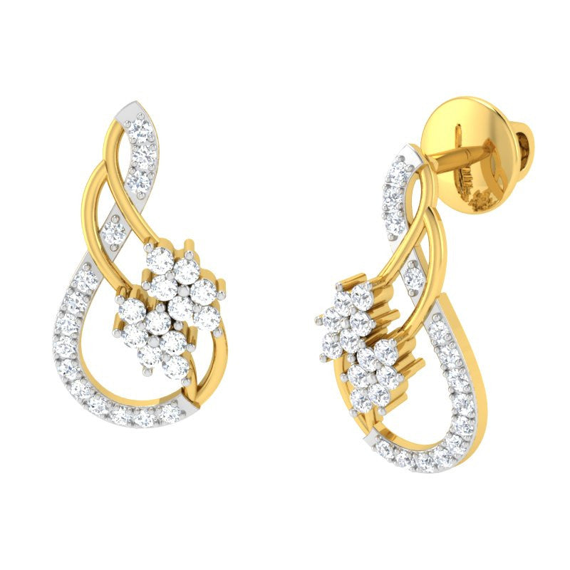 diamond studded gold jewellery - Veronika Earring Tops - Pristine Fire - 1