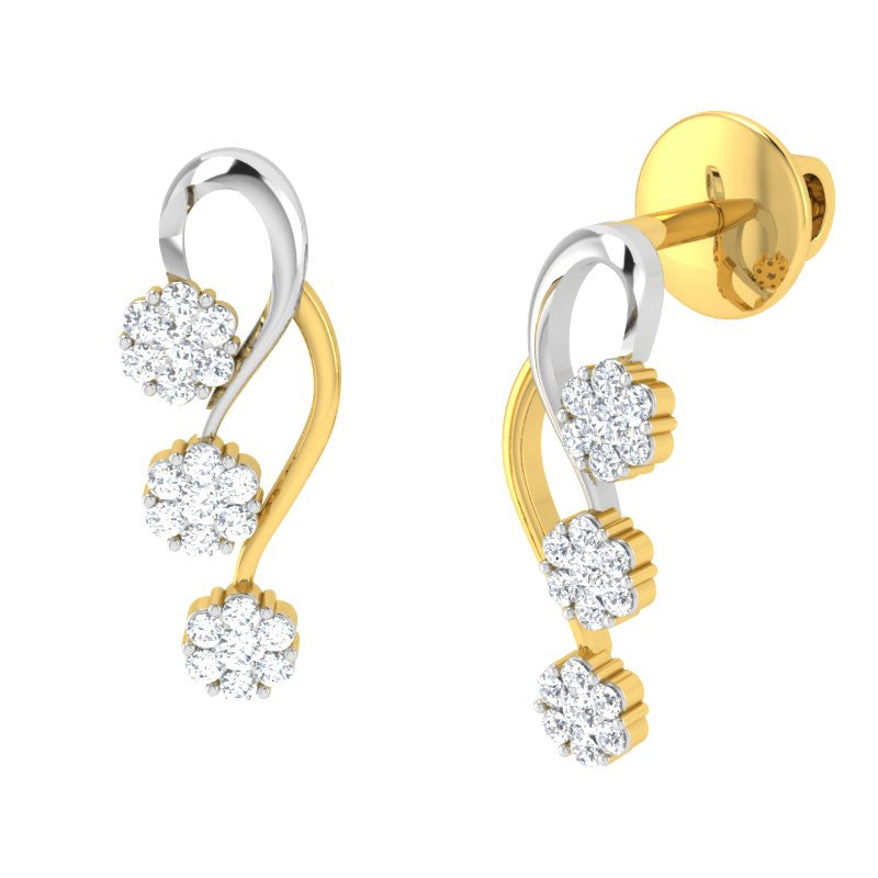 diamond studded gold jewellery - Josefina Earring Tops - Pristine Fire - 1