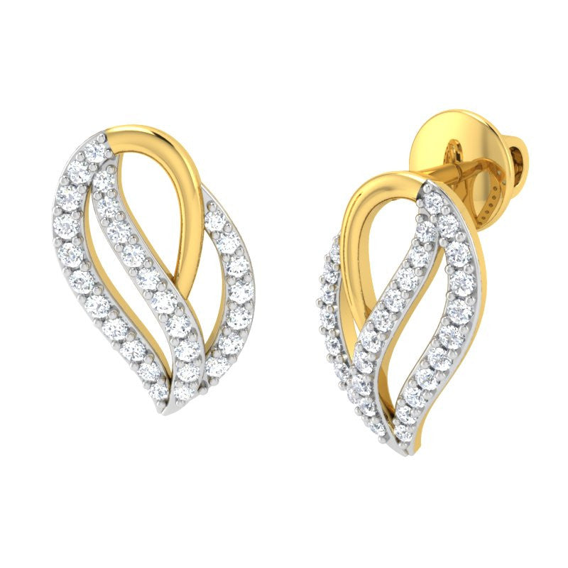 diamond studded gold jewellery - Natalia Earring Tops - Pristine Fire - 1