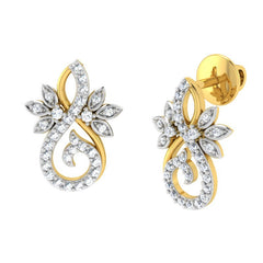 diamond studded gold jewellery - Marianne Earring Tops - Pristine Fire - 1