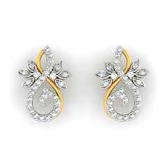 diamond studded gold jewellery - Marianne Earring Tops - Pristine Fire - 2