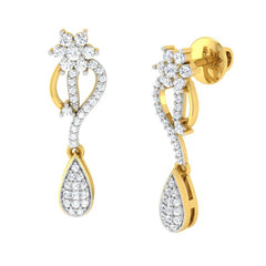 diamond studded gold jewellery - Éimhear Dangler Earring - Pristine Fire - 1