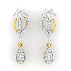 diamond studded gold jewellery - Éimhear Dangler Earring - Pristine Fire - 2