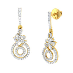 diamond studded gold jewellery - Amira Dangler Earring - Pristine Fire - 1