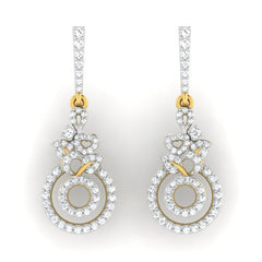 diamond studded gold jewellery - Amira Dangler Earring - Pristine Fire - 2
