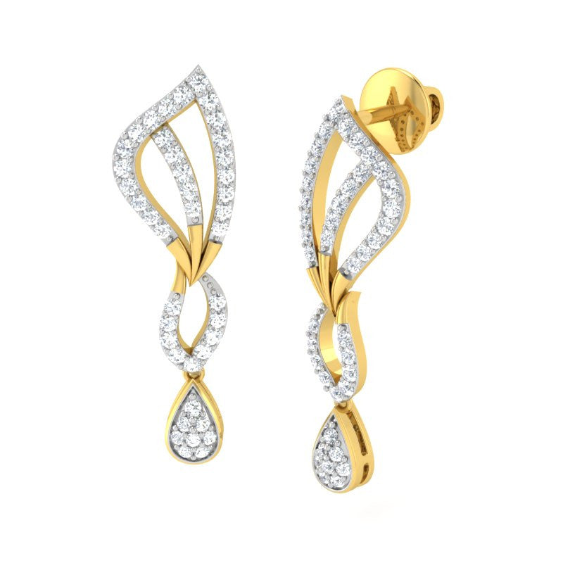 diamond studded gold jewellery - Alexandra Dangler Earring - Pristine Fire - 1