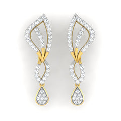 diamond studded gold jewellery - Alexandra Dangler Earring - Pristine Fire - 2