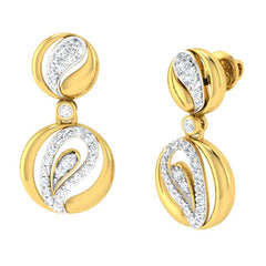diamond studded gold jewellery - Adama	 Dangler Earring - Pristine Fire - 1