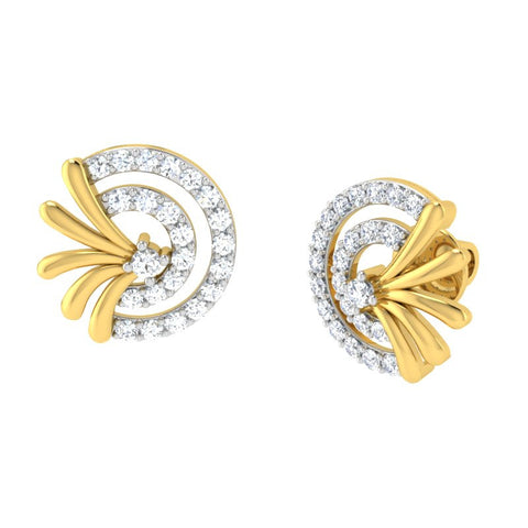 diamond studded gold jewellery - Adana	 Earring Tops - Pristine Fire - 1