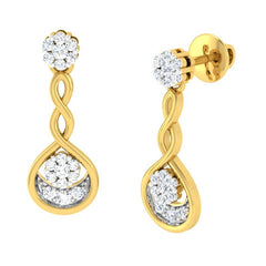 diamond studded gold jewellery - Adara	 Dangler Earring - Pristine Fire - 1