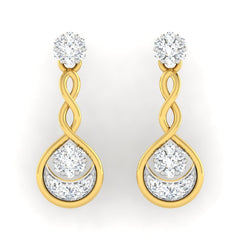 diamond studded gold jewellery - Adara	 Dangler Earring - Pristine Fire - 2