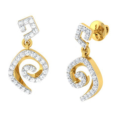 diamond studded gold jewellery - Adaya	 Dangler Earring - Pristine Fire - 1