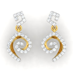 diamond studded gold jewellery - Adaya	 Dangler Earring - Pristine Fire - 2