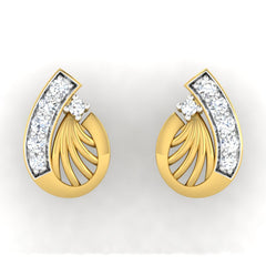 diamond studded gold jewellery - Adena	 Earring Tops - Pristine Fire - 2