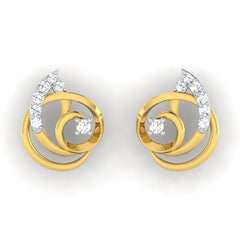 diamond studded gold jewellery - Adria	 Earring Tops - Pristine Fire - 2