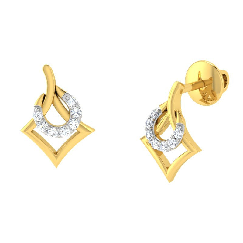 diamond studded gold jewellery - Aisha	 Earring Tops - Pristine Fire - 1