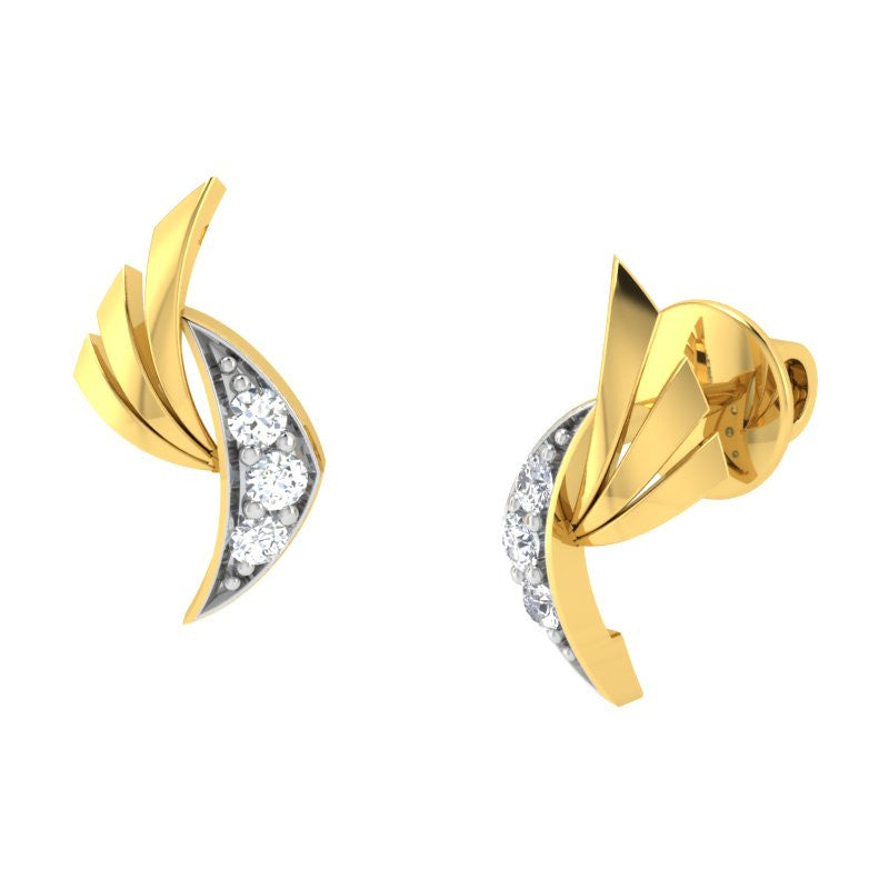 diamond studded gold jewellery - Akira	 Earring Tops - Pristine Fire - 1
