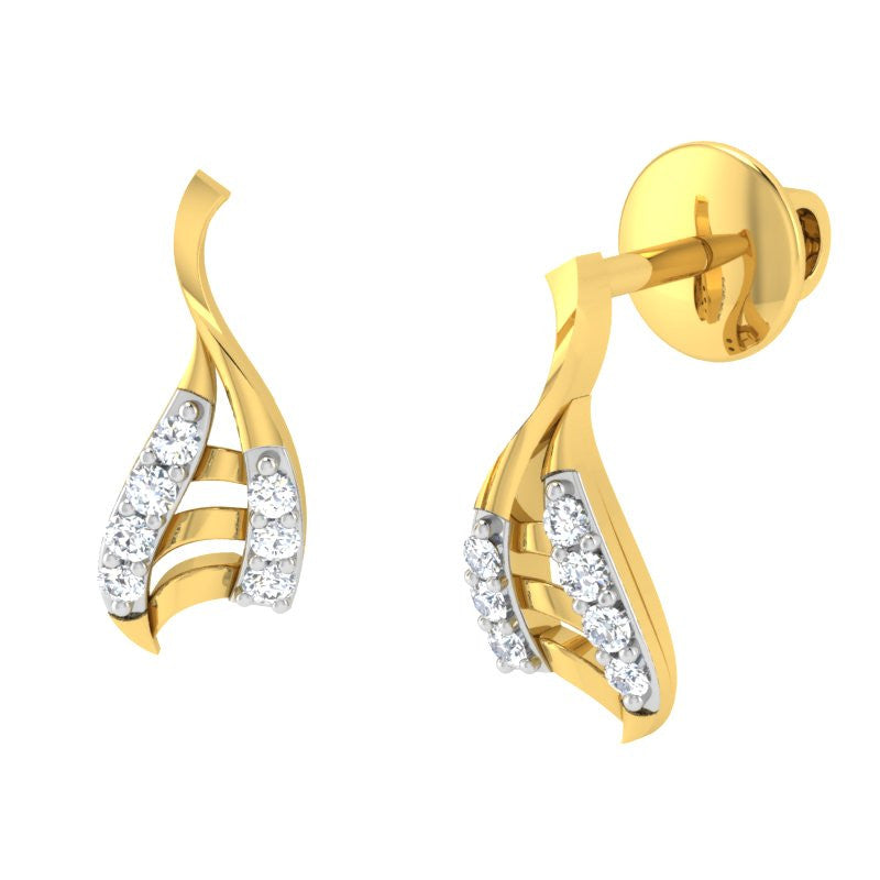 diamond studded gold jewellery - Alaia	 Earring Tops - Pristine Fire - 1