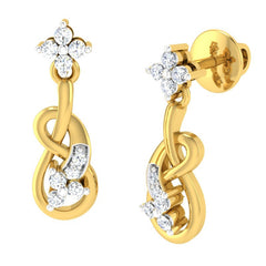 diamond studded gold jewellery - Alana	 Dangler Earring - Pristine Fire - 1