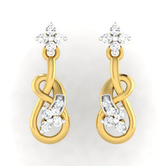 diamond studded gold jewellery - Alana	 Dangler Earring - Pristine Fire - 2