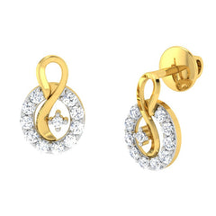diamond studded gold jewellery - Aleah	 Earring Tops - Pristine Fire - 1