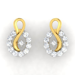diamond studded gold jewellery - Aleah	 Earring Tops - Pristine Fire - 2