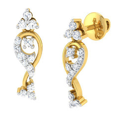 diamond studded gold jewellery - Alena	 Earring Tops - Pristine Fire - 1