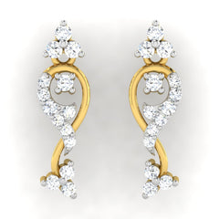 diamond studded gold jewellery - Alena	 Earring Tops - Pristine Fire - 2