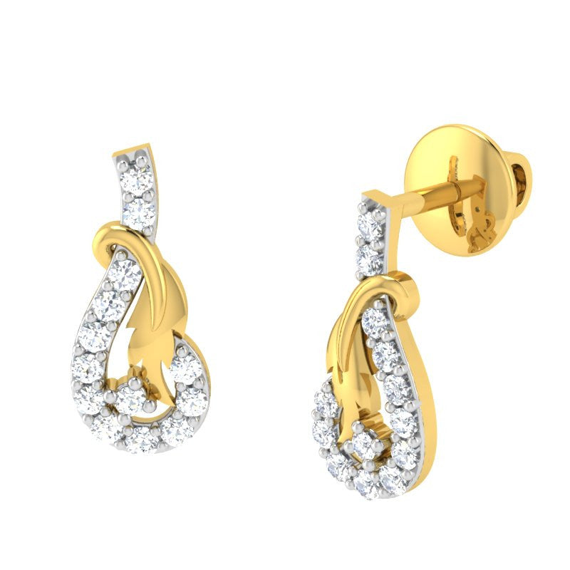 diamond studded gold jewellery - Alexe	 Earring Tops - Pristine Fire - 1