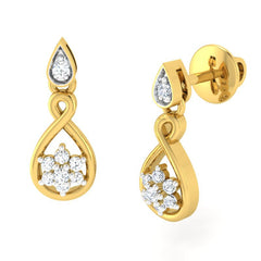 diamond studded gold jewellery - Alexi	 Dangler Earring - Pristine Fire - 1
