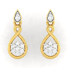 diamond studded gold jewellery - Alexi	 Dangler Earring - Pristine Fire - 2