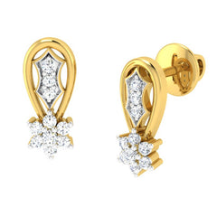 diamond studded gold jewellery - Alice	 Earring Tops - Pristine Fire - 1