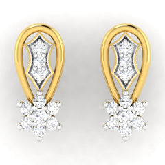 diamond studded gold jewellery - Alice	 Earring Tops - Pristine Fire - 2