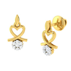 diamond studded gold jewellery - Alika	 Earring Tops - Pristine Fire - 1