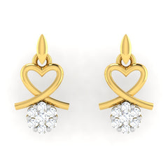 diamond studded gold jewellery - Alika	 Earring Tops - Pristine Fire - 2