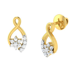 diamond studded gold jewellery - Alisa	 Earring Tops - Pristine Fire - 1